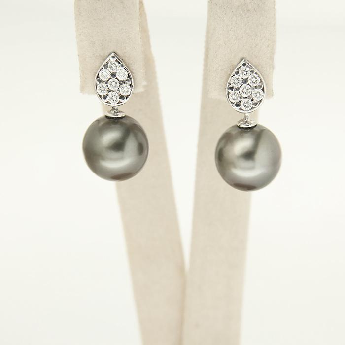 orecchini di perle in oro con diamanti, personalizzabili