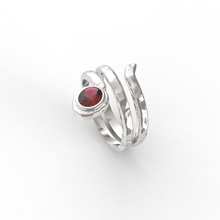 anello a serpente in oro bianco con pietre preziose a Roma e sullo store online