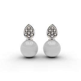 orecchini in oro bianco con diamanti e perle, personalizzabili a Roma o sul nostro store online