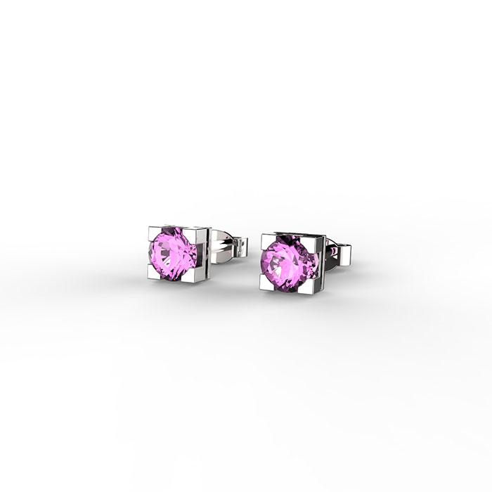 orecchini punto luce con zaffiro rosa