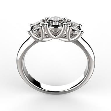 Anello trilogy in platino o oro bianco con diamanti