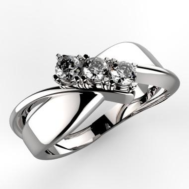 anello trilogy in platino e diamanti