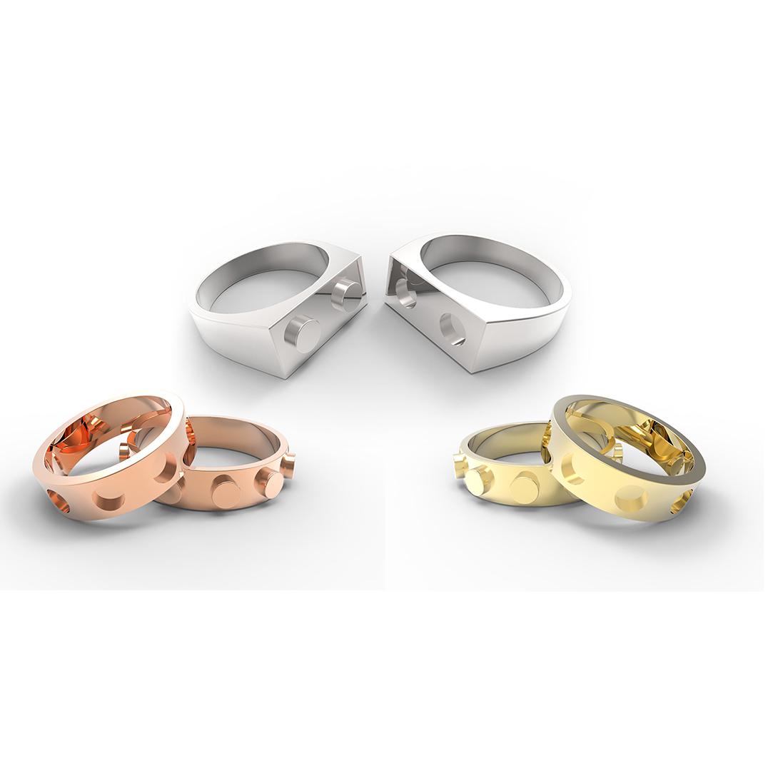 Fedi nuziali Roma platino e oro con diamanti