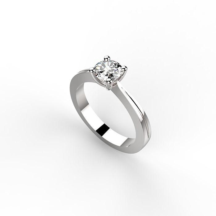 anello solitario in platino o oro con diamante laboratorio orafo Roma