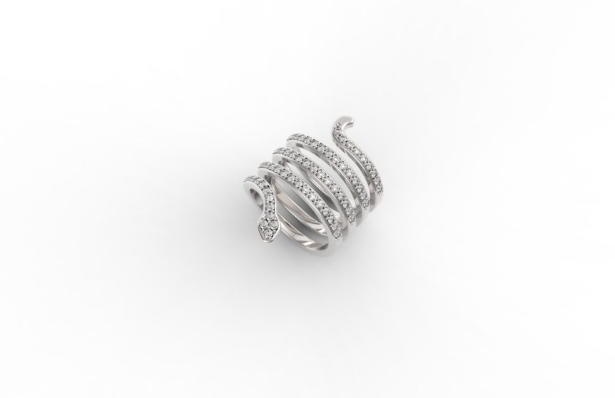 Anello serpente diamanti