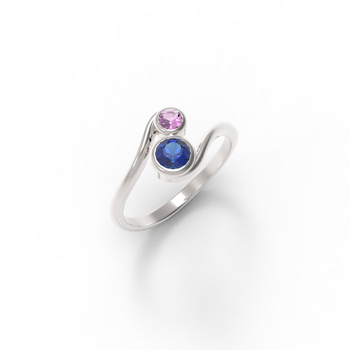 anello contrariè in platino o oro con pietre preziose