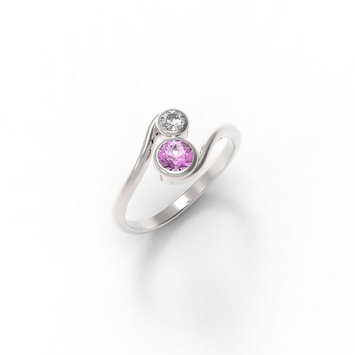 anello in platino o oro con due pietre preziose