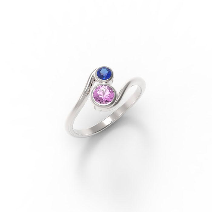 anello contrariè in platino o oro e due pietre preziose