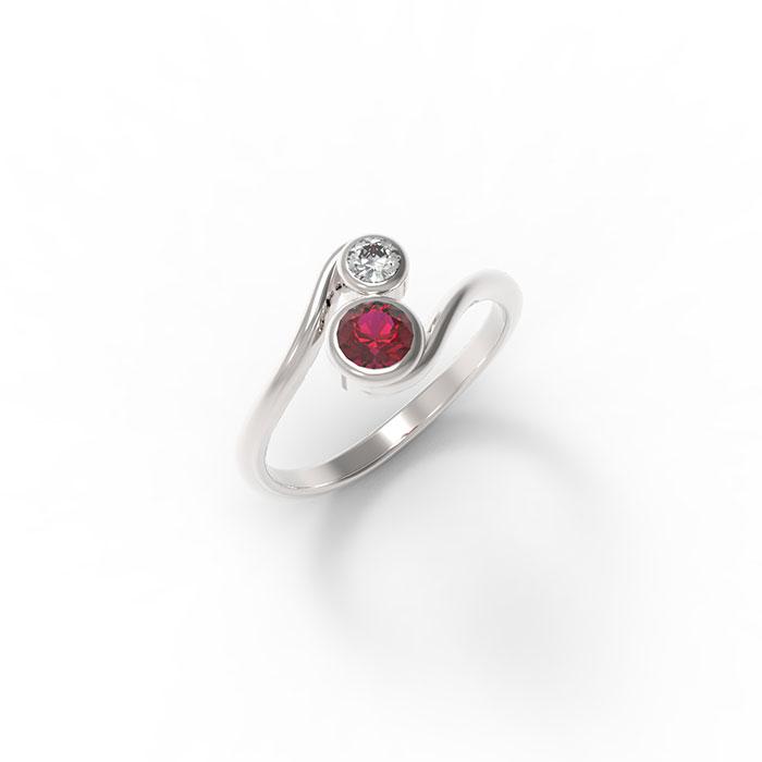 anello contrariè con due pietre preziose