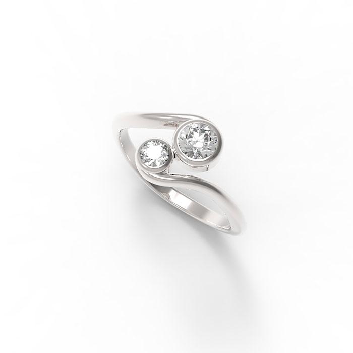 anello contrariè con diamanti