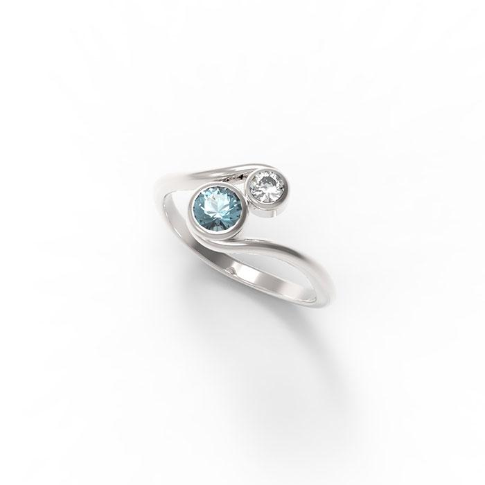 anello in platino o ro con due pietre preziose a scelta