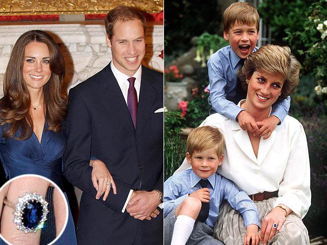 anello da fidanzamento con zaffiro blu Kate e Diana